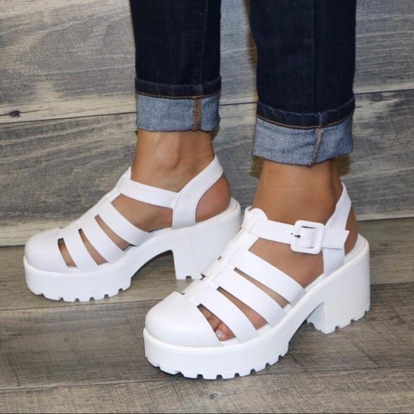 11584aaaa02 White summer gladiator closed toe chunky sandal